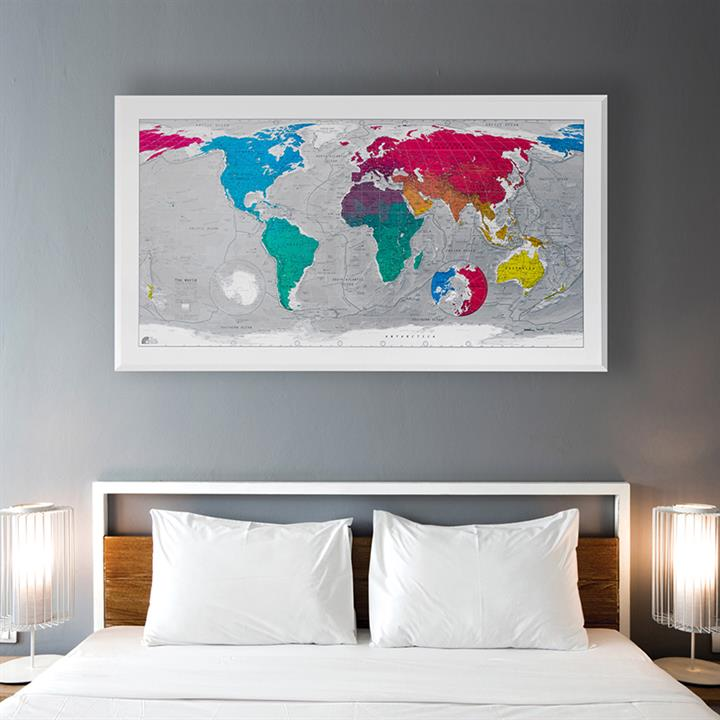 classic world wall map framed