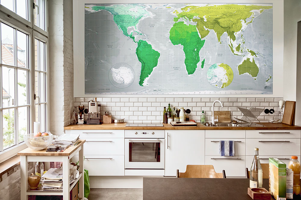 World Map Wallpaper Green