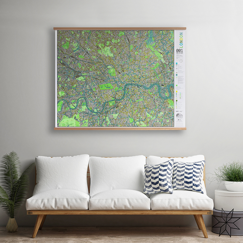 LONDON WALL MAP FRAMED MAGNETIC
