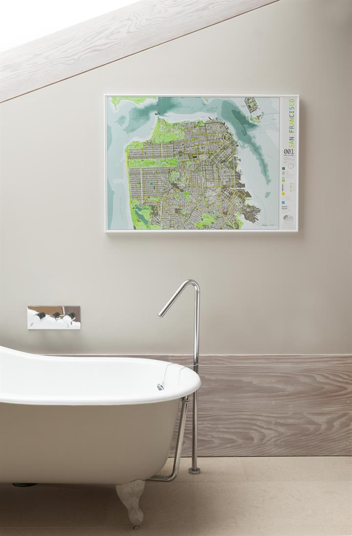 San Francisco map in bathroom
