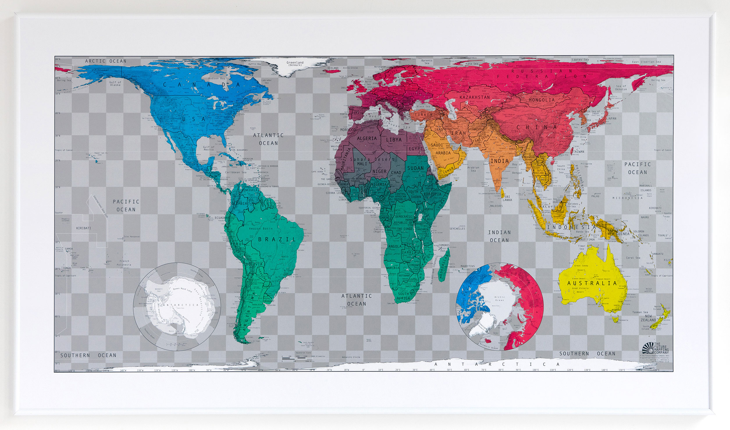 Gall-Peters Projection Future World Wall Map