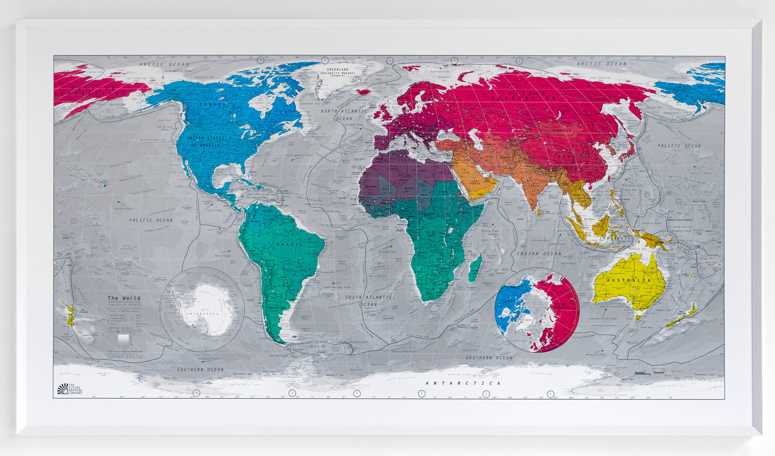 Robinson Projection Classic World Wall Map